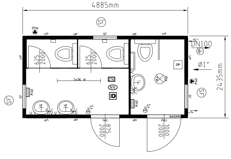 Toilet Floor Plan : Steel portable toilet cabins toilets for sale