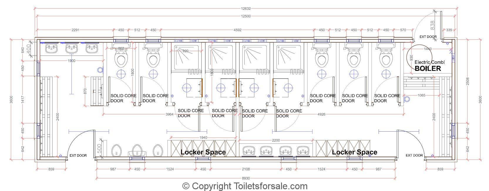Locker Room And Toilet Floor Plan Design