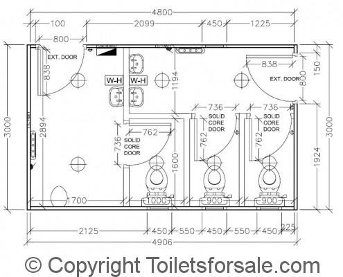 Drawing No. A4: Male/Female Toilet Unit