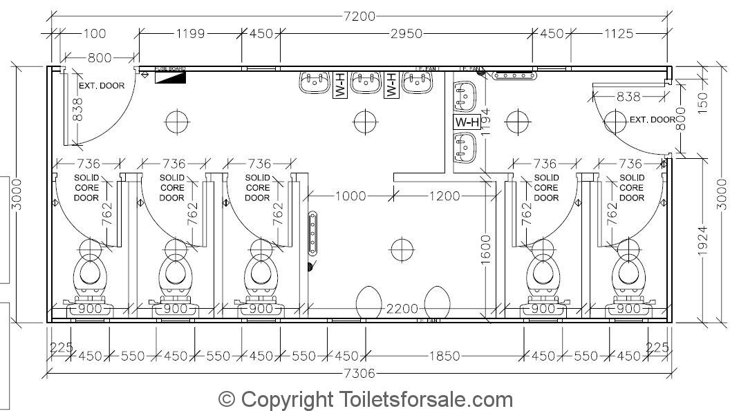 Dimensions Toilettes Interiors Ref Toilet Cubicle