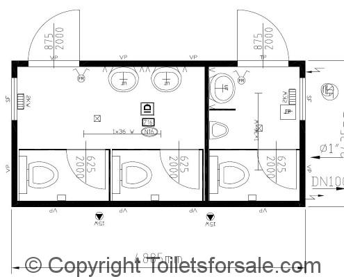 Drawing No. B4: Male/Female Steel Toilet Cabin