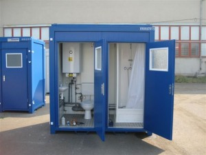Twin steel anti vandal Containex Toilet & Shower Cabin