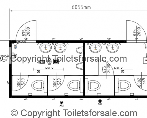 Drawing No. B5: Male/Female Steel Toilet Cabin