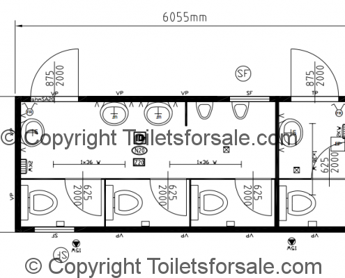 Drawing No. B6: Male/Female Steel Toilet Cabin
