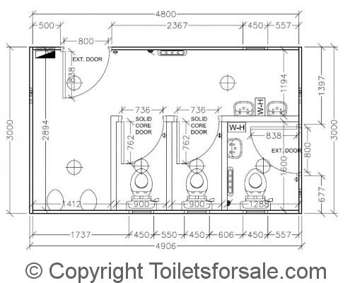 Drawing No. A3: Male/Female Toilet Unit